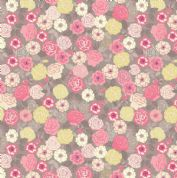 Lewis & Irene Flo's Wildflowers - 5430 - Wild Roses, Pink & Yellow on Taupe - FLO9.2 - Cotton Fabric
